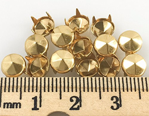 Nailheads - Spots - Studs: Size 30/107 Round with Six Facets Gold Finish - 100 PCS - 4 Prong - 6MM 15/64