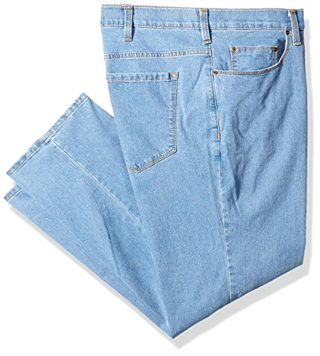 Savane Men's Big and Tall Flat Front Active Flex Stretch Denim, Light Stonewash, 52W x 30L ()