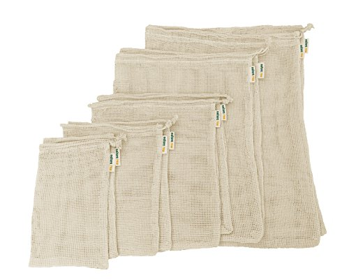 Nature Raw organic unbleached cotton mesh reusable produce bags | 10 pack of 5 sizes | Fully compostable | Zero Waste