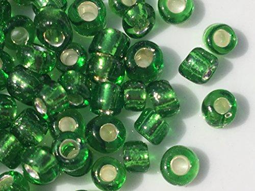 Glass Green Bead - Czech Glass Seed Beads Emerald Green Silver Lined Size:6/0 40 gr / 1.4 oz