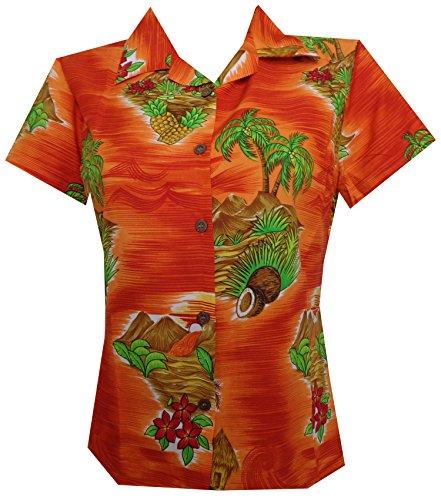 Alvish Hawaiian Shirt 8W Women Scenic Flower Print Aloha Beach Blouse Orange XL - Scenic Print Hawaiian Shirt