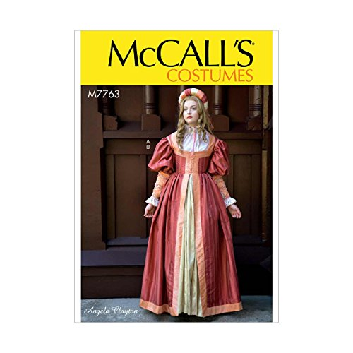 McCall's Patterns M7763 A5 Misses' Renaissance Dress and Skirt by Angela Clayton, Size 6-14