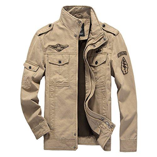 cy Chaqueta Militar Traje De Vuelo Hombres Algodón Lavado Abrigo Solapa Primavera Abrigos Para Al Aire Libre: Amazon.es: Ropa y accesorios