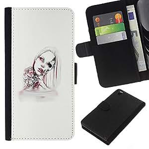 LECELL--Cuero de la tarjeta la carpeta del tirón Smartphone Slots Protección Holder For HTC DESIRE 816 -- Mujer Android --