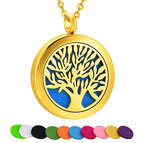 SWOPAN Essential Oil Diffuser Necklace Aromatherapy Tree of Life Diffuser Locket Pendant Stainless Steel 18K Gold Plated Necklace for Women Men Perfume Necklace, Tree of Life Diffuser Locket-Gold