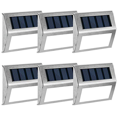 GIGALUMI 6 Pack Solar Deck Lights,3 LED Solar Stair Lights Outdoor LED Step Lighting Stainless Steel Waterproof Led Solar Lights for Step,Stairs,Pathway,Walkway,Garden-(Cold White)