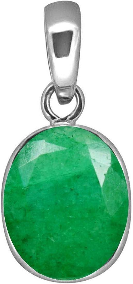 Colgante de esmeralda natural con forma ovalada de 6 quilates, piedra preciosa astrológica de plata de ley con camafeo y piedra natal