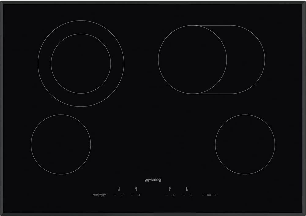 Black Glass Suprema With Soft Touch Controls Smeg 30 Ceramic Cooktop with Angle Edge Glass 4 High Light Radient Elements