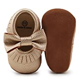 Delebao Infant Toddler Baby Soft Sole Tassel Bowknot Moccasinss Crib Shoes (6-12 Months, Gold03)