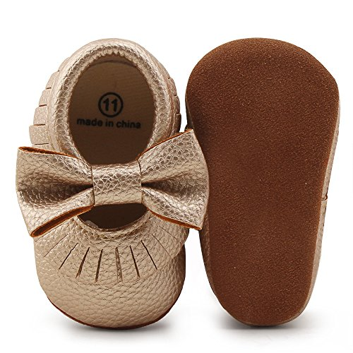 Delebao Infant Toddler Baby Soft Sole Tassel Bowknot Moccasinss Crib Shoes (12-18 Months, Gold03)