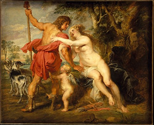 Historic Pictoric Fine Art Print | Peter Paul Rubens | Venus and Adonis | Vintage Wall Art | 20in x 16in