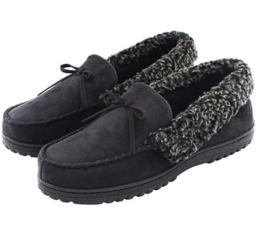 HomeIdeas Men's Faux Fur Lined Suede House Slippers, Autumn Winter Indoor / Outdoor Moccasin Shoes