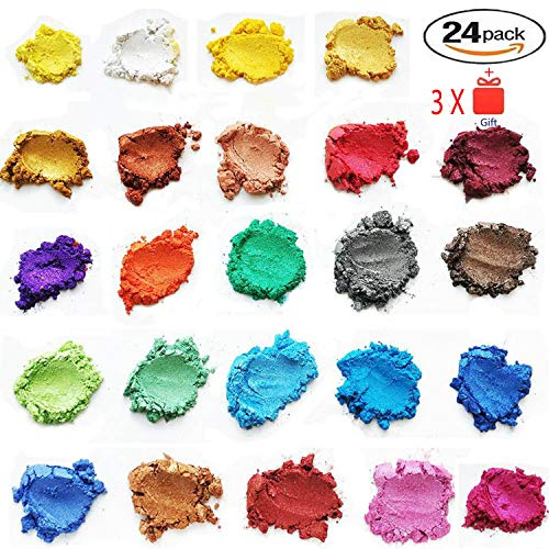 ORAK Mica Powder | Cosmetic Grade | 24 Assorted Colors | Soap Making Colorant | Pigment Powder for Slime | Bath Bomb Supplies | Powdered Pigments Set | Resin Dye | Art, Craft Projects | Make Up Dye by ORAK