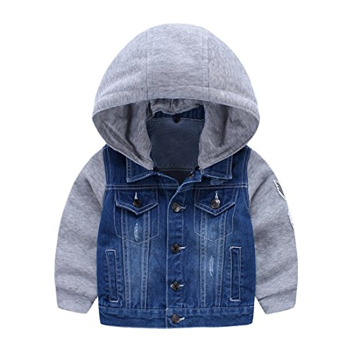 NQ Kids Baby Boy's Lapel Ripped Patched Denim Hoodies Coa...