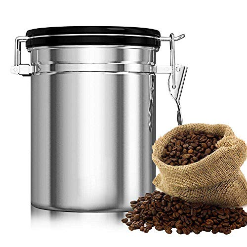 Dili Coffee Canister Airtight Storage Containers Holder Kitchen Beans Flour Sugar Tea Stainless Steel Container Vacuum Seal Co2 Valve Large 22.8 oz(Silver-Large)