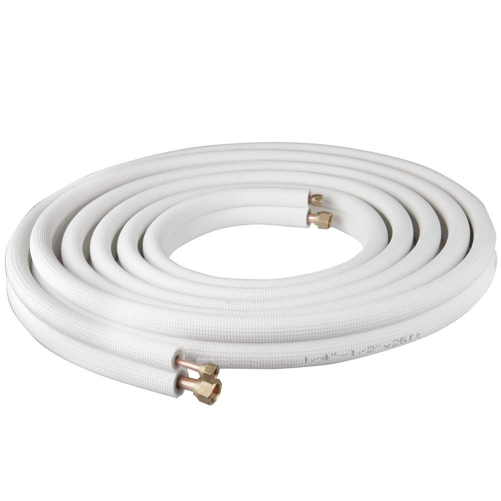 Wostore 25 Ft. Copper Pipes 1/2'' & 1/4'' with Nuts for Mini Split Air Conditioner Insulated Coil Line Set HVAC Refrigerant White by Wostore