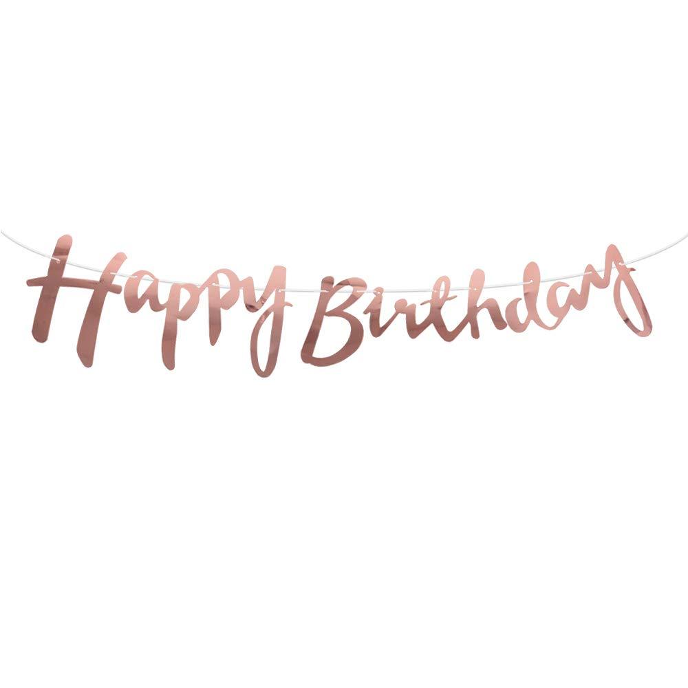 Rose MEJOSER Banni/ère Happy Birthday Banderole en Papier Design de la Personnalit/é D/écoration pour Table F/ête Party Anniversaire C/ér/émonie