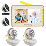 Video Baby Monitor 2 Cameras, Split Screen by Moonybaby, PAN TILT Camera, 170 Degree Wide-Angle Lens Included, 4.3' Large Monitor, Night Vision, Temperature, Two Way Talk Back, Long Range