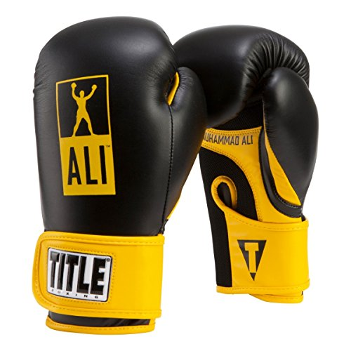 Title Boxing Ali Youth Boxing Gloves, Black/Yellow, 8 oz