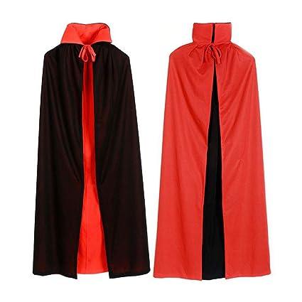 DEVIL Velvet Cape Nero Rosso Con Cappuccio Costume Costume Festa