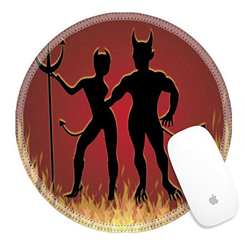 Luxlady Round Gaming Mousepad illustration of She Devil and He Devil dancing in fire IMAGE ID (She Devil Costumes Ideas)