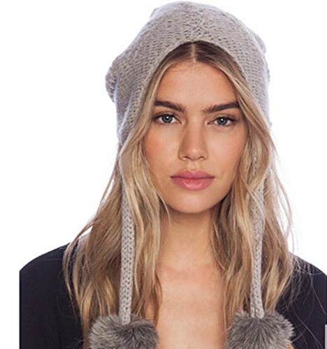 Womens Tassel Ear Flaps Cable Knitted Warm Woolen Snow Ski Beanie Hats