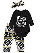 Mini Era Baby Girls' Funny Letters Print Pretty Eye Chubby Thighs Long Sleeve Romper