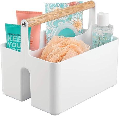 mDesign Cajas organizadoras para baño – Cajas de plástico con asas ...