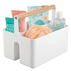 mDesign Plastic Portable Storage Organizer Utility Caddy Tote, Divided Basket Bin with Wood Handle for Bathroom, Dorm Room, Holds Hand Soap, Body Wash, Shampoo, Conditioner, Lotion - White/Natural