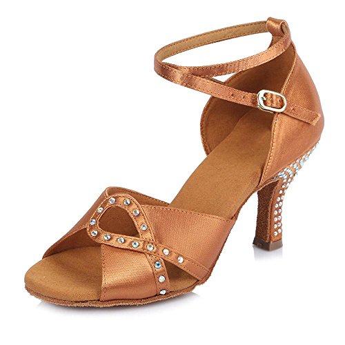 YFF Frauen Mädchen Damen Ballroom Latin Tango Party Dance Schuhe 6,5 cm Ferse Brown 65mm