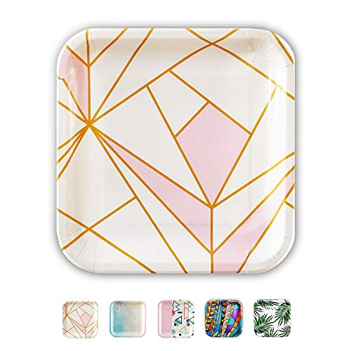 SOLAS Biodegradable & Fully Compostable Pink Paper Plates | Beautifully Designed Stylish Eco Friendly Disposable Party Plates | Pack of 20 | 9 Inch (Pink & Gold Disposable Plates) ()