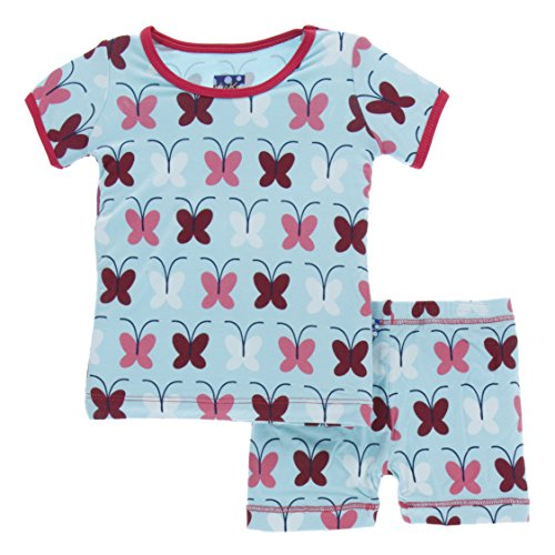 Kickee Pants Little Girls Print Short Sleeve Pajama Set With Shorts, Tallulah's Butterfly, Girls 7 (Butterfly Short Sleeve Shorts)