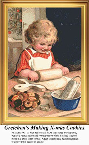 (Gretchen's Making X-mas Cookies, Vintage Counted Cross Stitch Pattern (Pattern Only, You Provide the Floss and)