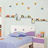 ufengke Cartoon Car Airplane Hot Air Balloon Wall Decals, Children's Room Nursery Removable Wall Stickers Murals
