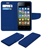 Acm Mobile Leather Flip Flap Wallet Case for Micromax Bolt A067 Mobile Cover Blue