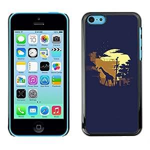 Cubierta de la caja de protección la piel dura para el Apple iPhone 5C - Giraffe Moonlight Sahara Safari