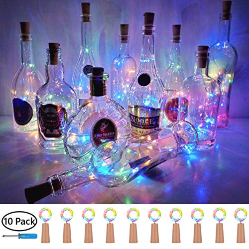 Cork String Light for Wine Bottle, Battery Operated LED Cork Shape Silver Copper Wire Colorful Fairy Mini String Lights for DIY Christmas Halloween Wedding Party Deco,10 Pack (4 Colors)