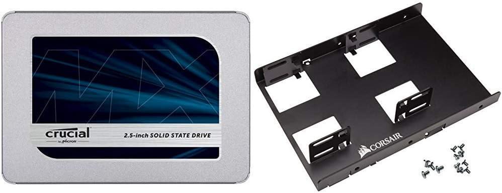 "Crucial MX500 250GB 3D NAND SATA 2.5 Inch Internal SSD - CT250MX500SSD1(Z) & Corsair Dual SSD Mounting Bracket 3.5"" CSSD-BRKT2"