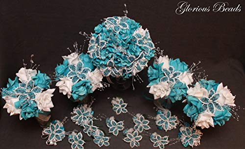 (Turquoise and White Beaded Lily Wedding Flower 17 piece set with White Roses ~ Unique French beaded flowers and beaded sprays)