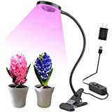 10W LED Grow Light, Venoya Desk Grow Lamp for Indoor Plants, Grow Light 8 Levels Dimmable with Flexible Gooseneck and Metal Clip for Bonsai, Pot Plant, Hydroponics, Horticultural Garden