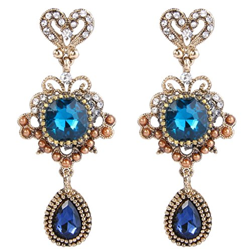 Earrings Flower Crystal Drop (BriLove Antique-Gold-Toned Dangle Earrings Women's Vintaged Inspired Love Heart Shape Crystal Flower Drop Chandelier Pierced Earrings Blue Topaz Color w/Sapphire Color)