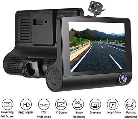 """3 LENSダッシュライブチャット、ナイトビジョン、Gセンサー、駐車場モニター、ループ・レコーディング、170を使用して車用4"""" のフルHD 1080Pダッシュカメラ°ワイドアングル"""