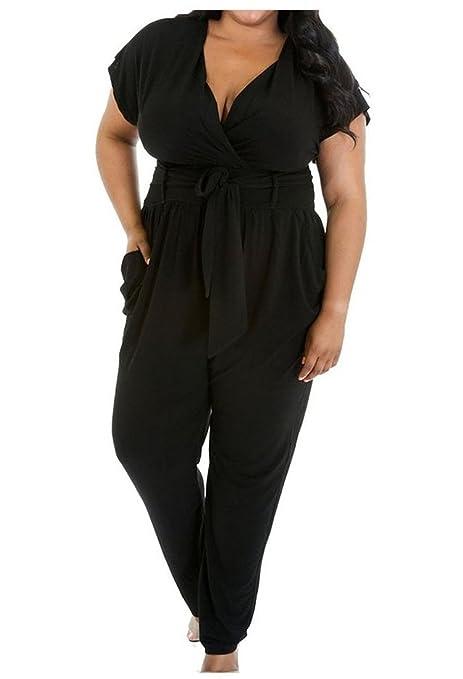 online store 069b3 757a2 Swallowuk Damen Elegant Kurze Ärmel Jumpsuit Casual Großer Code Overall  Hosen
