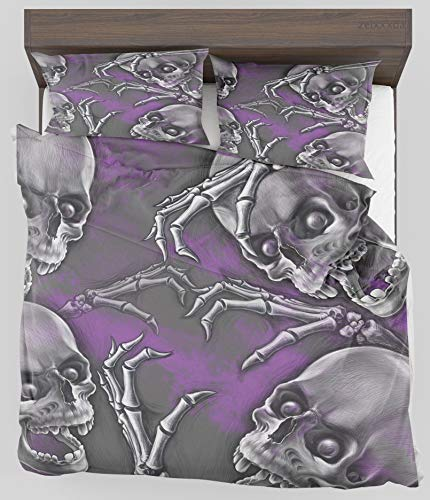 Big Boned Skeleton (ZELXXXDA Decor Bedding Set Skull Scary Creepy Spooky Happy Smiling Skeleton with Boned Hand Artwork Print Twin/Twin XL Size Duvet Cover with 2 Matching Pillow)