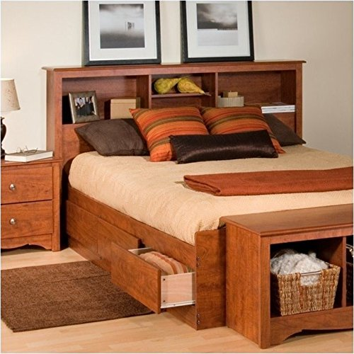 Bowery Hill Full Queen Bookcase Headboard in Cherry - Shaker Style Full Bed