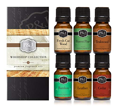 Woodshop Set of 6 Premium Grade Fragrance Oils – Forest Pine, Fresh Cut Wood, Leather, Teakwood, Bamboo, Cedar