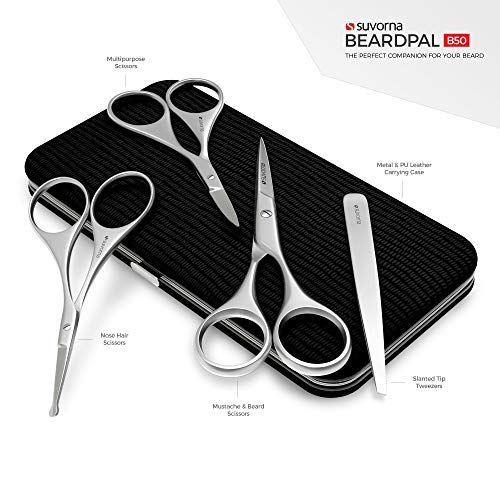 Suvorna Men's 4 Pcs Facial Hair Scissors Set/Kit. Contains 4.5'' Mustache & Beard, Ears & Nose and Eyebrow Scissors along with Slant Tweezers. Awesome Metal & Leather Case.! by Suvorna