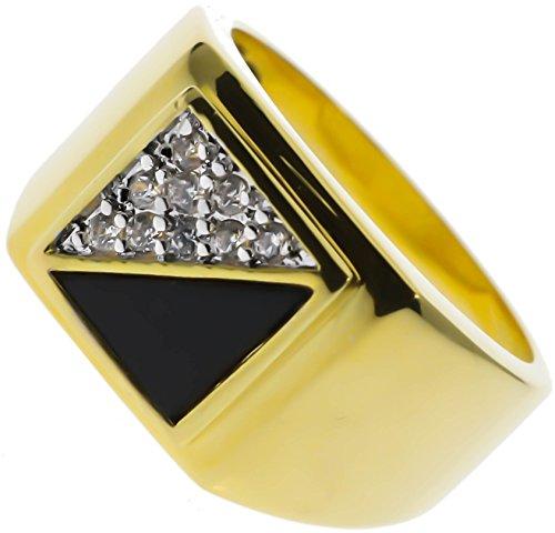 Sujak Jewelry Classy Diagonal Ring Russian Czs 18k Gold Overlay Size 11