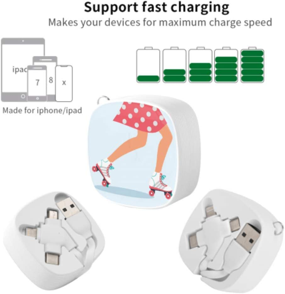 Multi USB Fast Charge Cable Sports Roller Skate Shoes Multi 3 in 1 Retractable Micro USB Cable Charger with Micro USB//Type C Compatible with Cell Phones Tablets and More