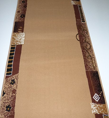 Shiraz Läufer nach Maß Beige Bordüre Meterware Küchenläufer B/100 cm Länge wählbar lfm. 16,90 Euro 100 x 380 cm